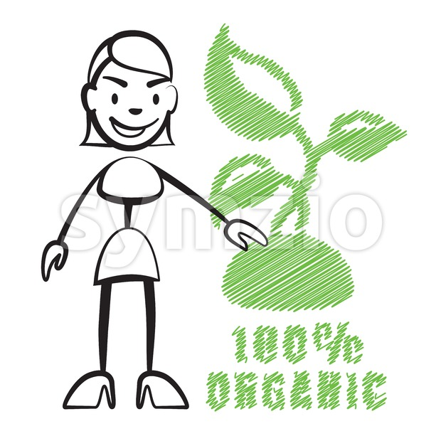 Stick figure woman with symbol 100% Organic Stock Vector