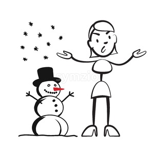 Stick figure woman in winter - what to wear? Stock Vector