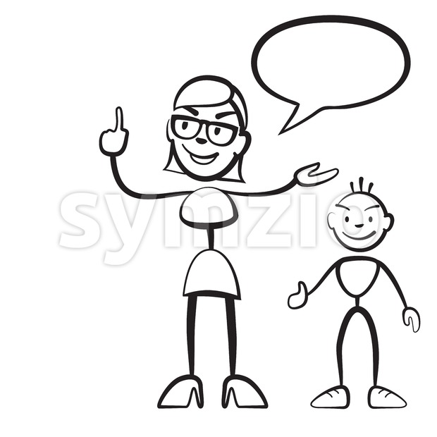 Stick figure persona woman with child and speech bubble Stock Vector