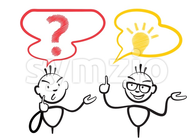 Stick figure question mark and idea Stock Vector