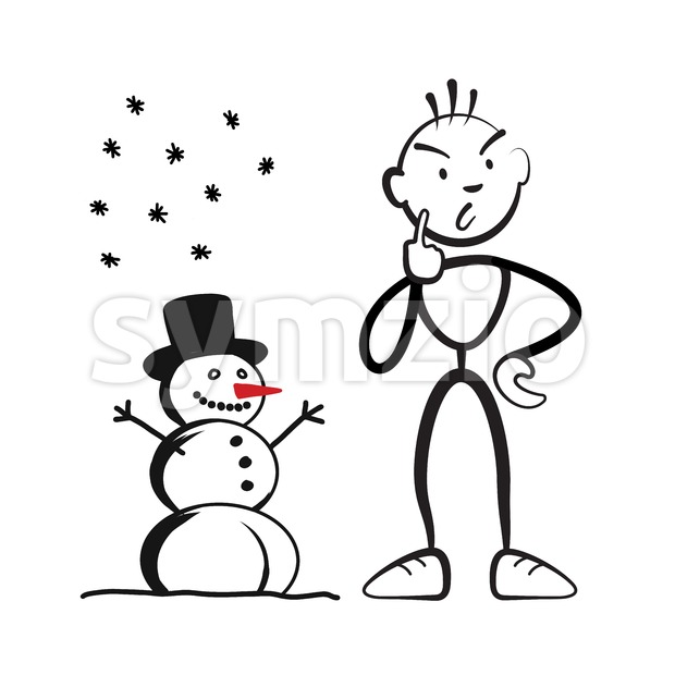 Stick figure man with snowman questioning, Stickman vector drawing on white background