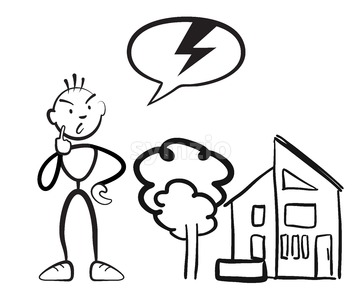 Stick figure man reports household damage Stock Vector