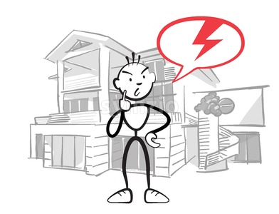 Stick figure man reports insurance damage to house Stock Vector