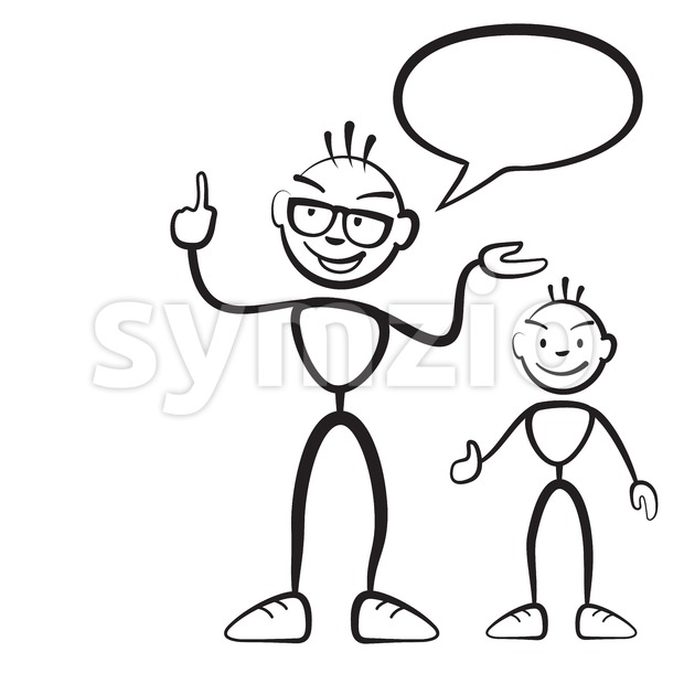 Stick figure persona man with child and speech bubble