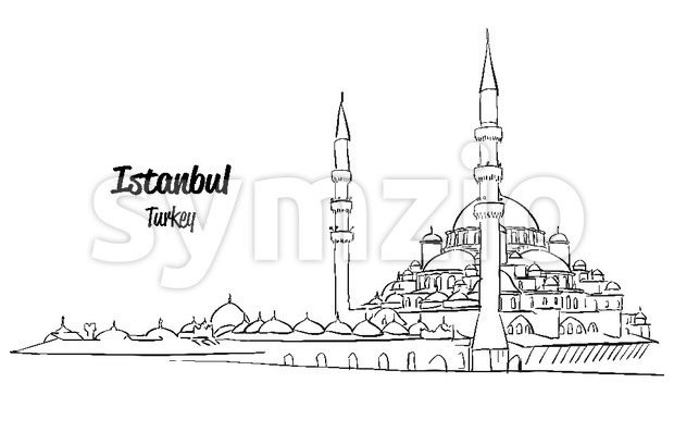 Istanbul Yeni Cami, New Mosque Sketch Stock Vector