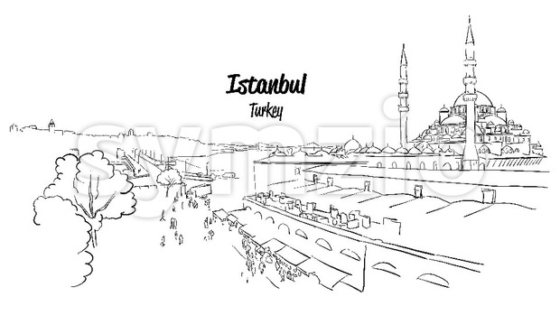Istanbul Historic Market Skyline Panorama, Stock Vector