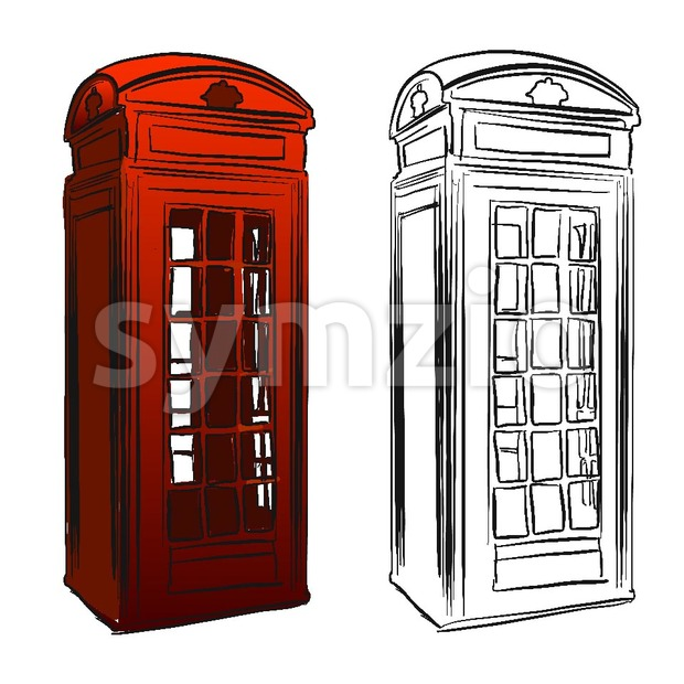 London Old Telephone Box Sketch Stock Vector