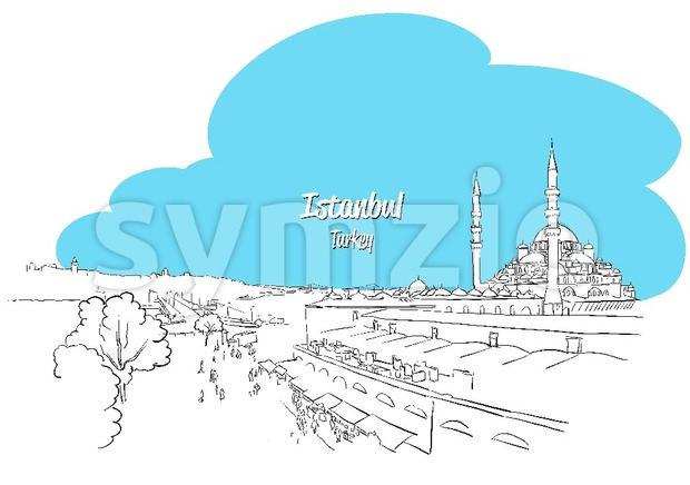 Istanbul Skyline Panorama sketched Greeting Card, Hand drawn Vector Outline Artwork