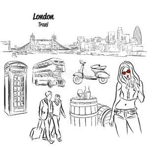 London Panorama and Travel Icons Sketches, Stock Vector