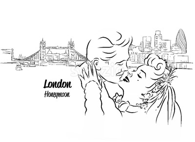 Lonodn Skyline Panorama with Honeymoon Couple in Foreground, Stock Vector