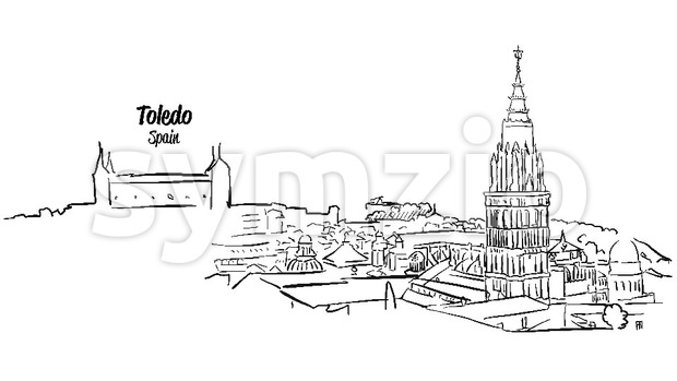 Toledo Ancient Skyline Panorama Sketch Stock Vector