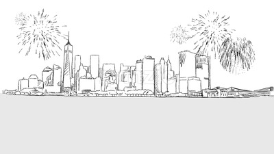 New York City Skyline Firework Sketch Stock Vector