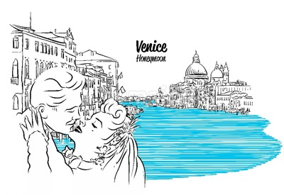 Venice Skyline with kissing Vintage Couple Sketch Stock Vector