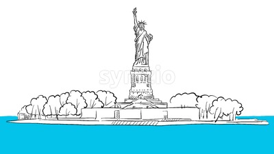 Statue of Liberty Island Areal Sketch Stock Vector