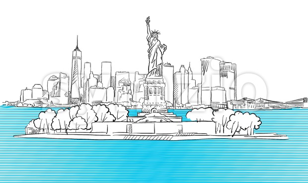 Liberty Statue with New York City Skyline Sketch Stock Vector