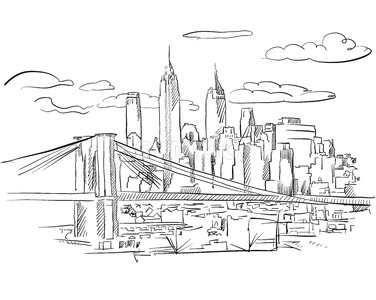 Manhattan and Brooklyn Bridge detailed Sketch Stock Vector