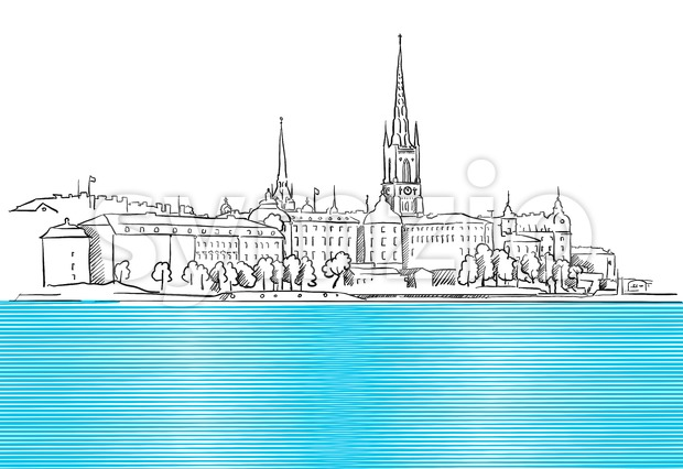 Stockholm Panorama with blue Water Sketch Stock Vector
