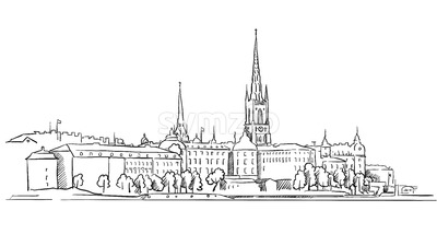 Stockholm Panorama Famous Outline Landmark Sketch Stock Vector