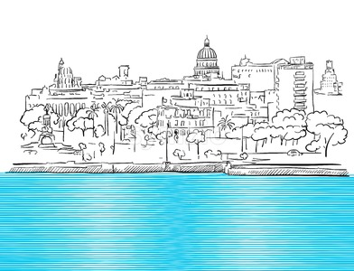 Havana Cuba Panorama with colored Sea Sketch Stock Vector
