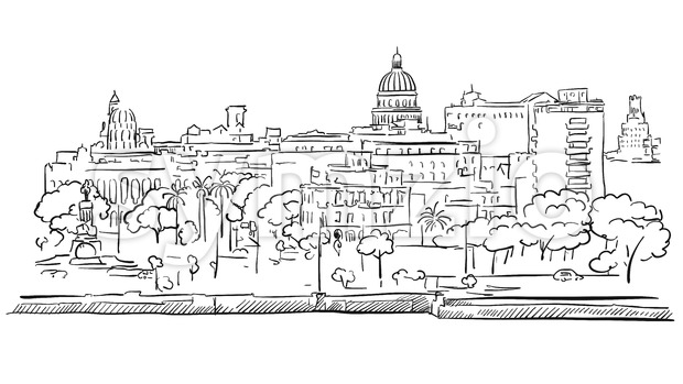Havana Cuba Panorama Outline Sketch Stock Vector