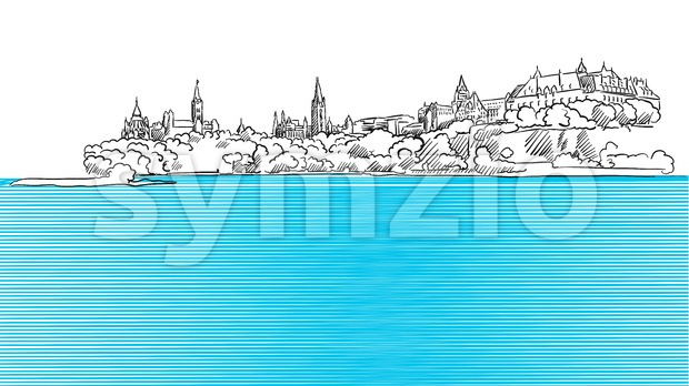 Ottawa Panorama Sketch seen from Ontario River Stock Vector
