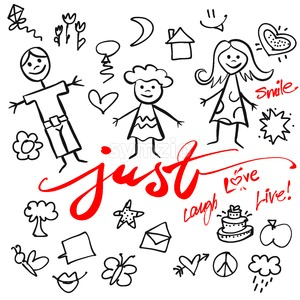 Just Family Doodle Vector Set Stock Vector