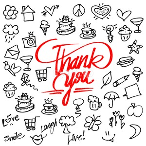 Thank you letter Typo and Icons Stock Vector