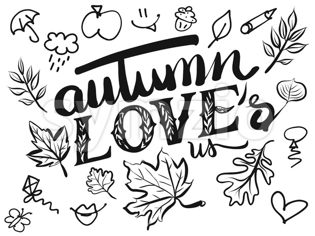 Autumn Loves us Typo and Icons Stock Vector