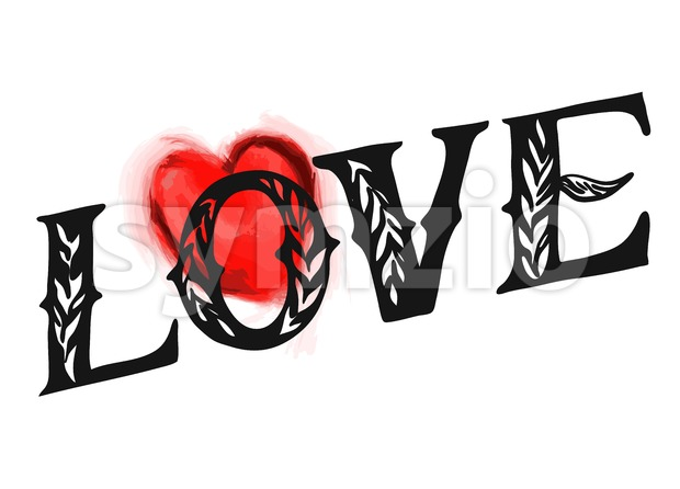 Love Type with red heart, Hand drawn Vector Calligraphy Greeting Card Concept