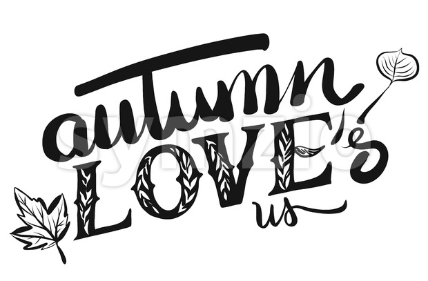 Autumn Loves us Typo Headline Stock Vector