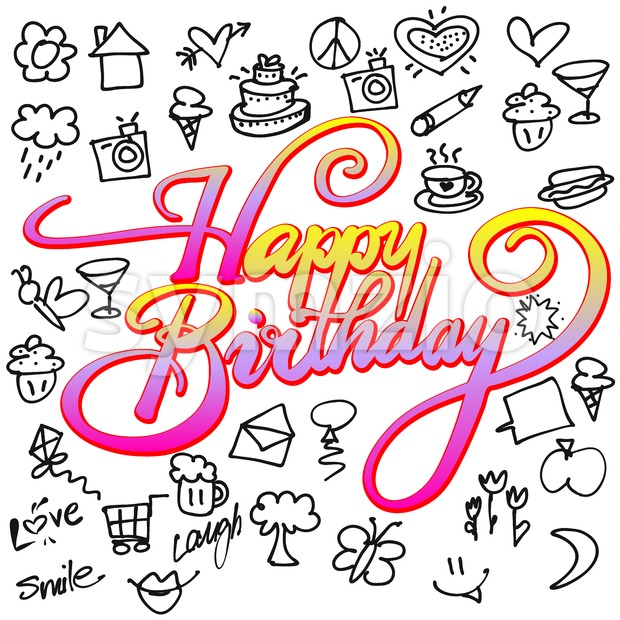 Happy birthday Icons and Doodles, Hand drawn Vector Calligraphy Greeting Card Concept
