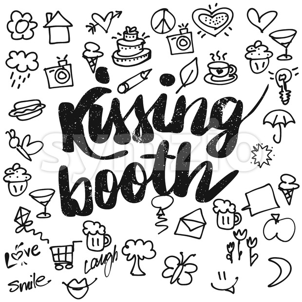 Kissing booth Typo and Doodles Stock Vector