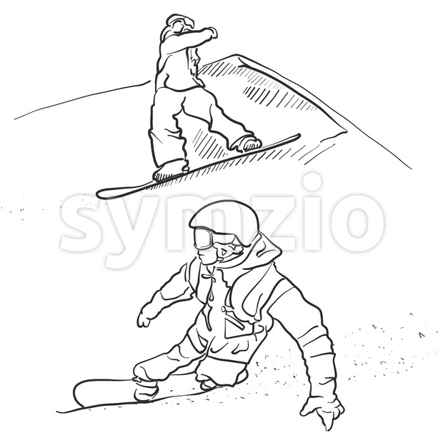 Two Snowboarder lifestyle Scribble Sketches, Hand drawn Vector Outline Artwork