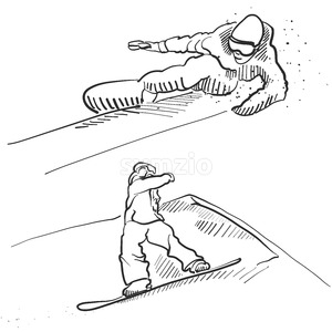 Two Snowboarder Jumping Situation Sketches Stock Vector