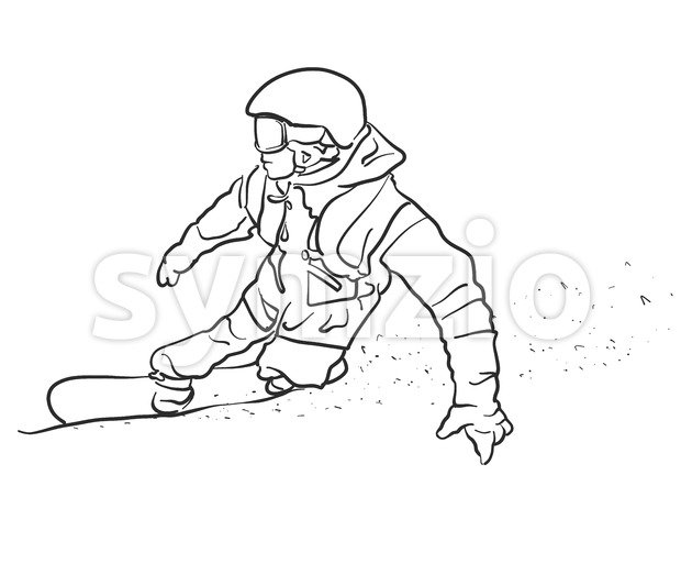 Freestyle Snowboarder takes Curve Sketch, Hand drawn Vector Outline Artwork