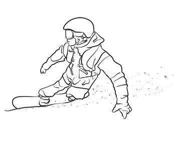 Freestyle Snowboarder takes Curve Sketch Stock Vector