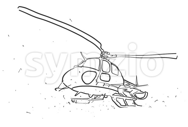Helicopter in wide angle Perspective Sketch Stock Vector