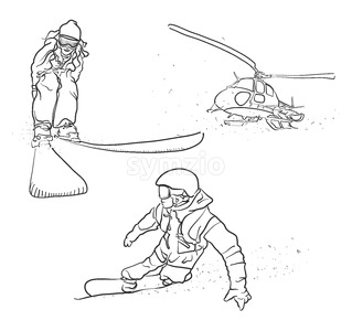 Skiing, Snowboarding and Helicopter Doodle Sketches Stock Vector