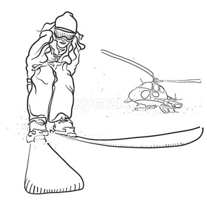 Skiing and Helicopter Doodle Sketches Stock Vector