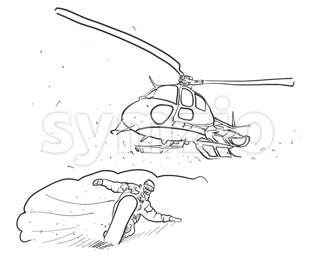 Snowboarding and Helicopter Doodle Sketches, Hand drawn Vector Outline Artwork