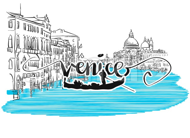 Venice Grand View Greeting Card Design Stock Vector