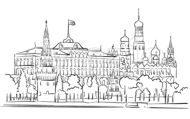 Kremlin, Moscow, Panoramic Greeting Card Sketch Stock Vector
