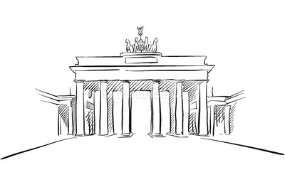 Berlin Brandenburger Gate Greeting Card Sketch Stock Vector