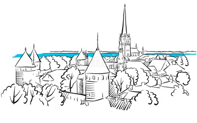 Riga Ancient Panorama Greeting Card Sketch Stock Vector