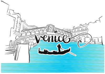 Famous Venice Rialto Bridge Greeting Card Design Stock Vector