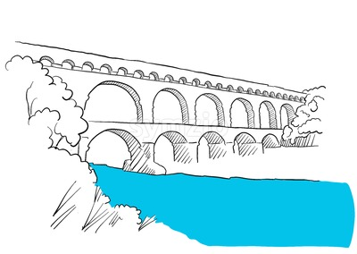 Gard Du Pont Languedoc, Nimes France, Sketch Stock Vector