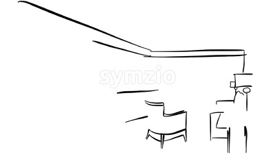 Sketched Hotel Room Interieur Animation Sequence Stock Video