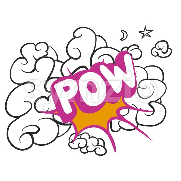 POW Shoot on Cloud Sketch Stock Vector