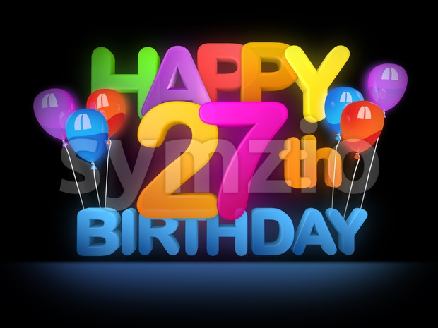 Happy 27th Birthday Title, dark Stock Photo
