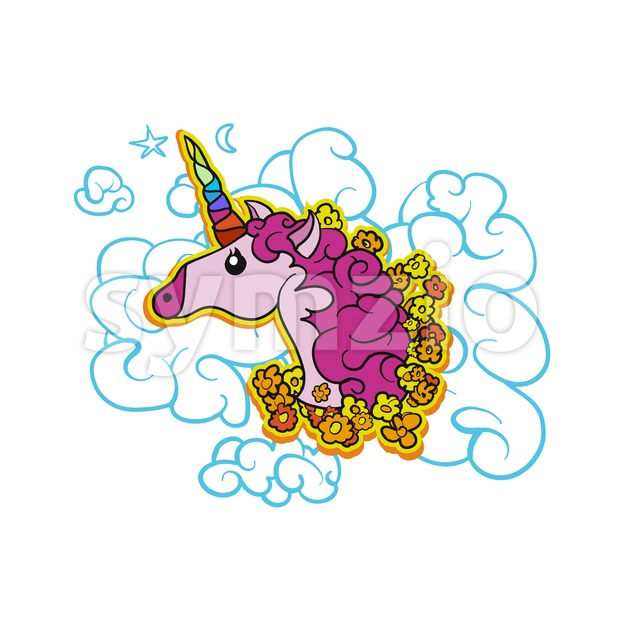 Pink Cute Unicorn on Cloud Stock Vector